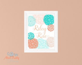 Name Flower Burst - Customizable Print - Coral Teal Sherbert