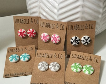 Colored Snowflakes Button Earring
