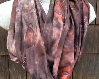 Coffee lovers cotton loop scarf, hand dyed and handpainted OOAK comfy jersey  infinity scarf in warm colors, soft cozy mocha latte swirl.