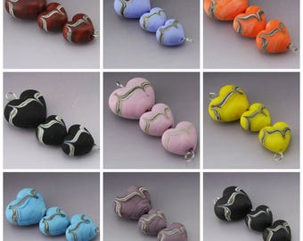 Handmade Lampwork Heart Beads SRA Lampwork Bead Etched Glass Beads Southwest Brown Purple Black Pink Yellow Blue Periwinkle Heather Behrendt