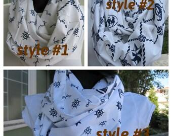 Navy White Infinity scarf - anchor print scarf -  nautical scarf - cotton poplin fabric loop scarf