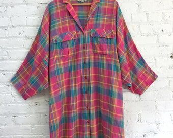 vintage 80s plaid gauzy indian cotton oversize shirt dress / madras lightweight slouchy button up collared tunic dress