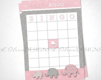 Elephant Baby Shower Bingo Game - Pink - DIY Printable - INSTANT DOWNLOAD