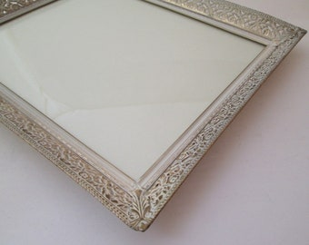 Vintage Wedding Frame, 9x11 Frame, 8x10 frame, Filigree Picture Frame, Gatsby Style, white and gold frame, frame 8x10, art deco style