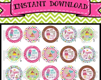 """Wild About Ice Cream - INSTANT DOWNLOAD 1"""" Bottle Cap Images 4x6 - 370"""