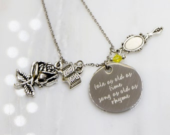 Beauty and the Beast Inspired Necklace, Beauty and the Beast gift, Belle, Disney Necklace, Princess Necklace, Fairy tale Jewelry,