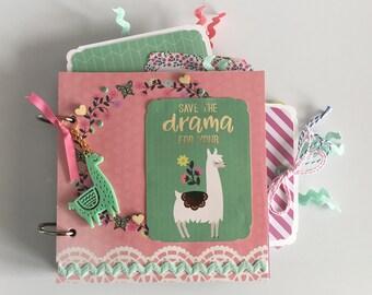 Save The Drama For Your Llama Mini Chipboard Scrapbook Album