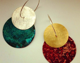 Pendientes de aros grandes plata, pendientes boho dorados, pendientes oro fiesta, pendientes etnicos estilo africano