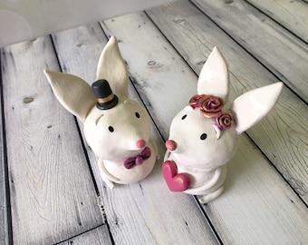 Sweetheart Bunny Cake Toppers - OOAK