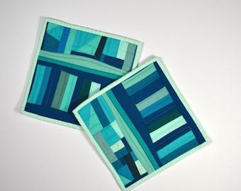 Aqua Potholders, Pot Holders,  Modern Pot Holders, Hostess Gift (set of 2), Aqua Teal Hot Pads, Abstract Table Decor