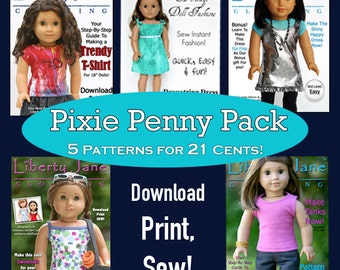Pixie Faire Liberty Jane 5 Patterns Bundle Doll Clothes Pattern for 18 inch American Girl Dolls - PDF