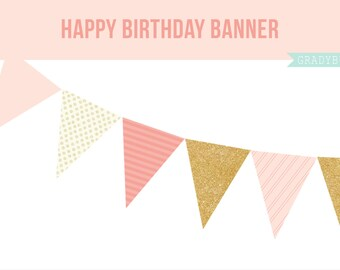 Pink and Gold Banner, Party Banner, DIY Printables, Printable Banner, Polka Dot Banner, Happy Birthday Banner, Instant Download
