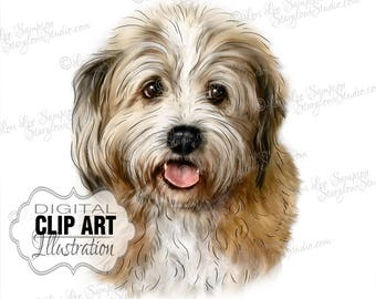 Shaggy Dog Clipart Color Illustration, Dog Portrait Clip Art Digital Download, Animal Art, Digital Scrapbooking Supplies (01710c)