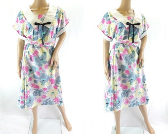 Vintage 1980s Floral Print Dress with Sailor Collar - Size 16/18 UK (12/14 US)