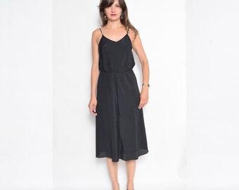 Vintage 80's Black Chevron Sundress / Sleeveless Black Midi Dress