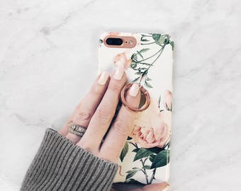 Ring Phone Grip Rose Floral Case iPhone Case With Stand Samsung Galaxy