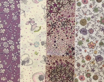 shades of purple - liberty of london - special limited edition print set  -25x25cmx 4pcs