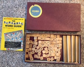 Scrabble game with wood tiles