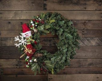 "18"" Pine and Snowman Christmas Wreath with Jingle Bells and Pine Cones"