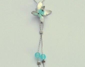 Blue quartz necklace, silver chain, long silver pendant, flower pendant, floral necklace, flower necklace, blue quartz - Hanging vine N8981