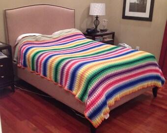 Vintage rainbow crocheted afghan, bedspread, blanket, throw, bedding, handmade, huge