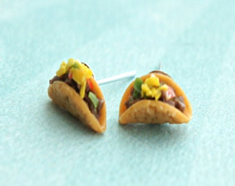 tacos earrings-food jewelry, miniature food earrings, mexican food