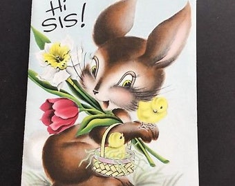 Vintage Easter Greeting Card, Bunny & Chicks, Norcross