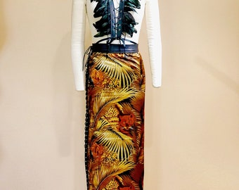 Leopard print silk skirt with leather corset closure down the side