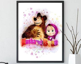 Masha and the Bear Wall Art Print, Masha, Masha Print, Masha Poster, Masha Girls Room Wall Art,Kids Room Wall Art Printable, Printable Art
