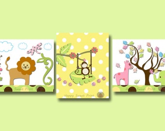 Safari canvas wall art,nursery zoo prints,gender neutral animals wall decor,set of 3 prints,green yellow elephant,monkey,giraffe,lion,047