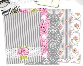 Printable Pink and Gray A5 Planner Dividers, Flower A5 Dividers tabs, Floral Dividers, Set of 5 Dividers, Planner Dividers, Filofax, Kikki K