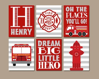 FIRE TRUCK Decor, Firetruck Birthday Gift, Firetruck Baby Shower, Firetruck Party Props, Firetruck Theme, Gift for Boy, Firetruck Set of 6