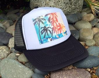 Trucker Hats, Rainbow Palms, Hawaii, limited ed., Beach, Surf, Summer, Fun, One Size Fits All, foam trucker hat, Surf, Best Seller