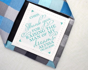 Father-in-law Tie Patch • Wedding Day Accessories • Thank you for raising the man of my dreams • Suit Label • Personalized Gift • FIL