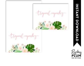 Tropical Food Card / Tropical Place Card / Luau Food Tent / Flower Food Card / Pink Green Food Tent / Boho Chic Botanical Food Card TP01