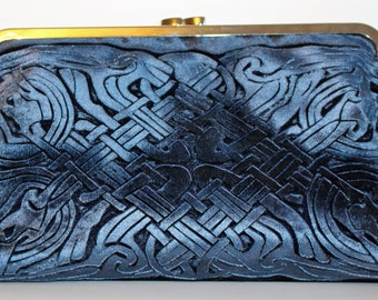 Celtic hand printed design Kisslock Clutch Bag in a Blue Velvet