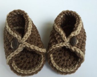 BOYS! 3-6 mos crochet sandal. Brown with football button.
