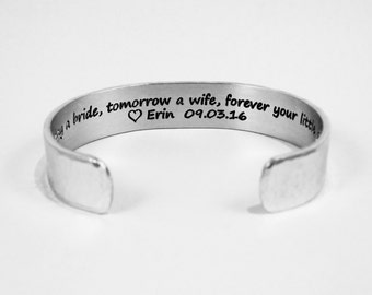 Mother of the Bride Gift Today I'm Your Daughter Tomorrow His Wife Cuff Bracelet DpeBWKMUb