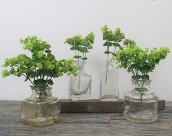 Small Glass Bottles, Vintage Bottle Collection, Instant Collection, Wedding Decor, Small Vase, Bathroom Decor
