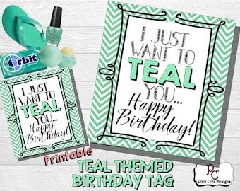 Teal Themed Printable Birthday Tag