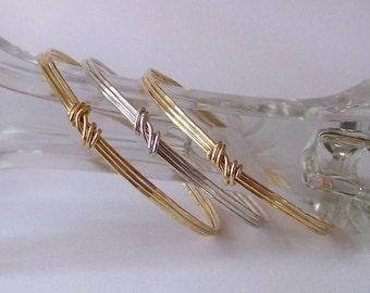 Hammered Bangle Bracelet - Stackable Bangle - TRIPLE LAYER - Copper - Brass - German Silver - CHOOSE 1 or 2 or 3 Bangles Made to Order
