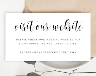 Visit Our Website Card Template Invitation Insert Template - Wedding invitation information insert template