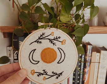 Beautiful Moon Phase and Floral Embroidery