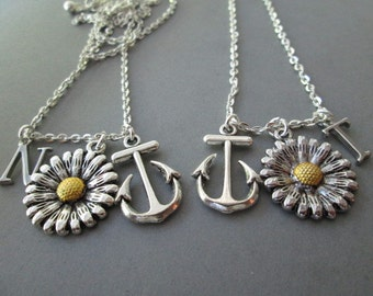 2 Sunflower, Anchor/ Initial Friendship Necklaces (Set)