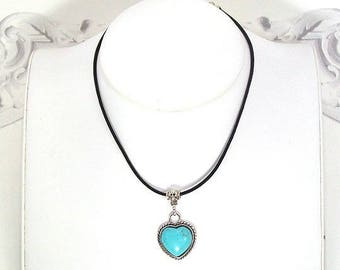 Heart turquoise cord leather Choker necklace