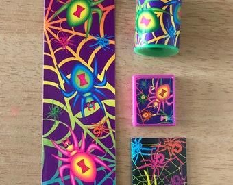 Vintage Lisa Frank Halloween Spiders Magnet Bookmark Kaleidoscope