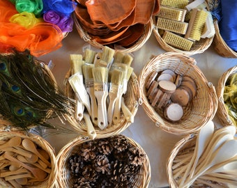 12 x Montessori inspired treasure basket top- up - heuristic play items - sensory play
