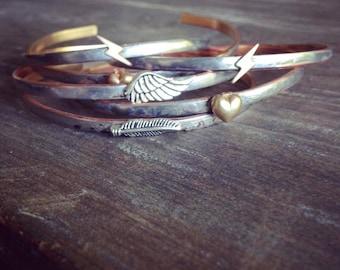Feather Bracelet, Wing Bracelet, Skinny Cuff Bangle Bracelet, Bohemian Hippie Gypsy Festival Cuff Bracelet