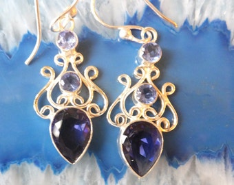 Sapphire and Sterling Silver Earrings
