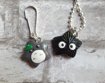 Totoro and Soot Sprite Inspired Kawaii Necklace OR Key Chain